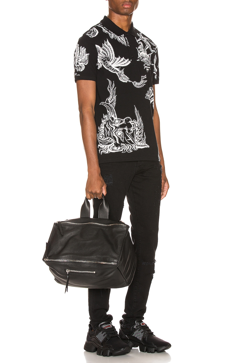 Image 5 of Givenchy Icarus Print Polo in Black