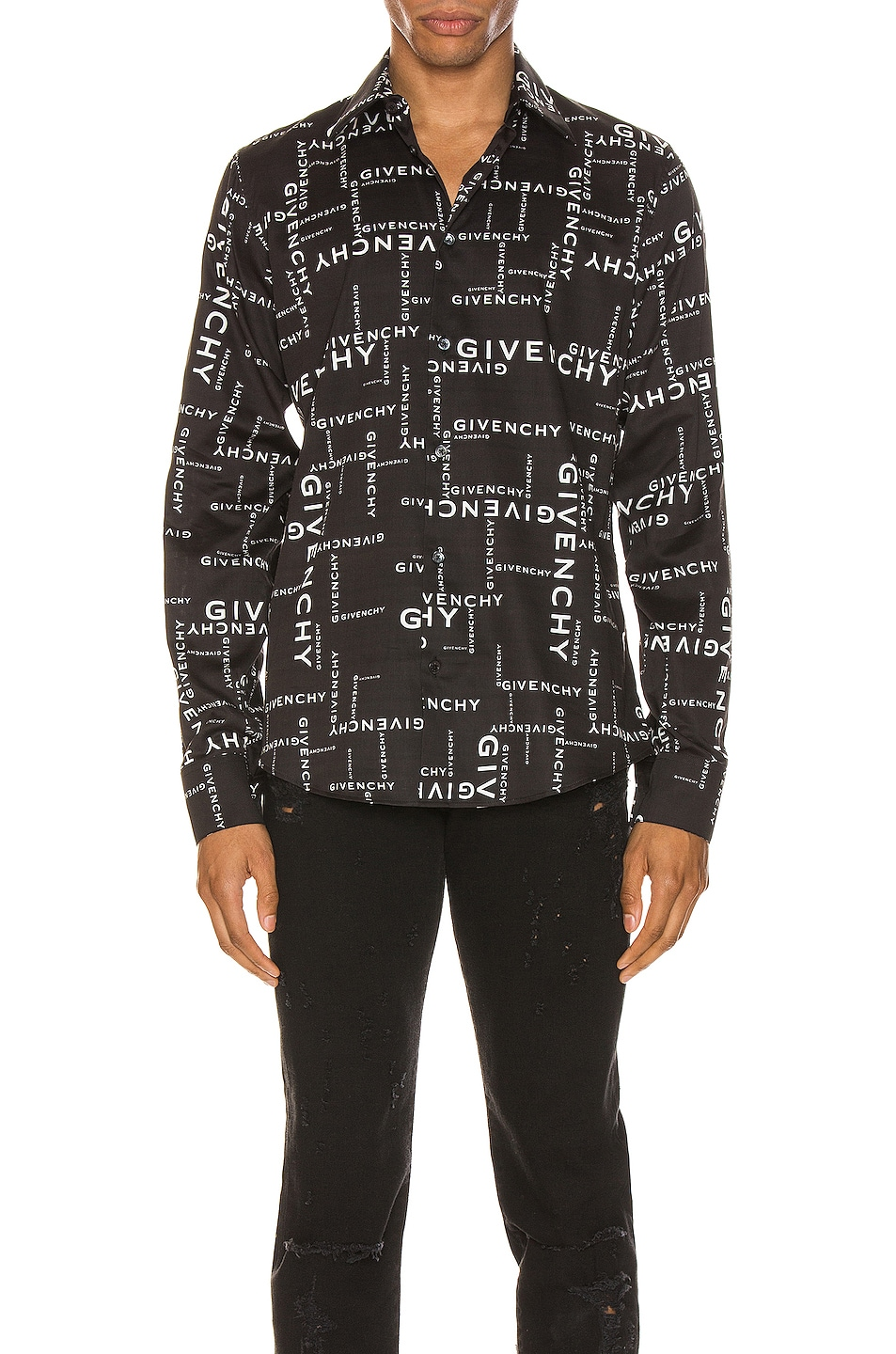 Image 1 of Givenchy Long Sleeve Shirt in Black & White