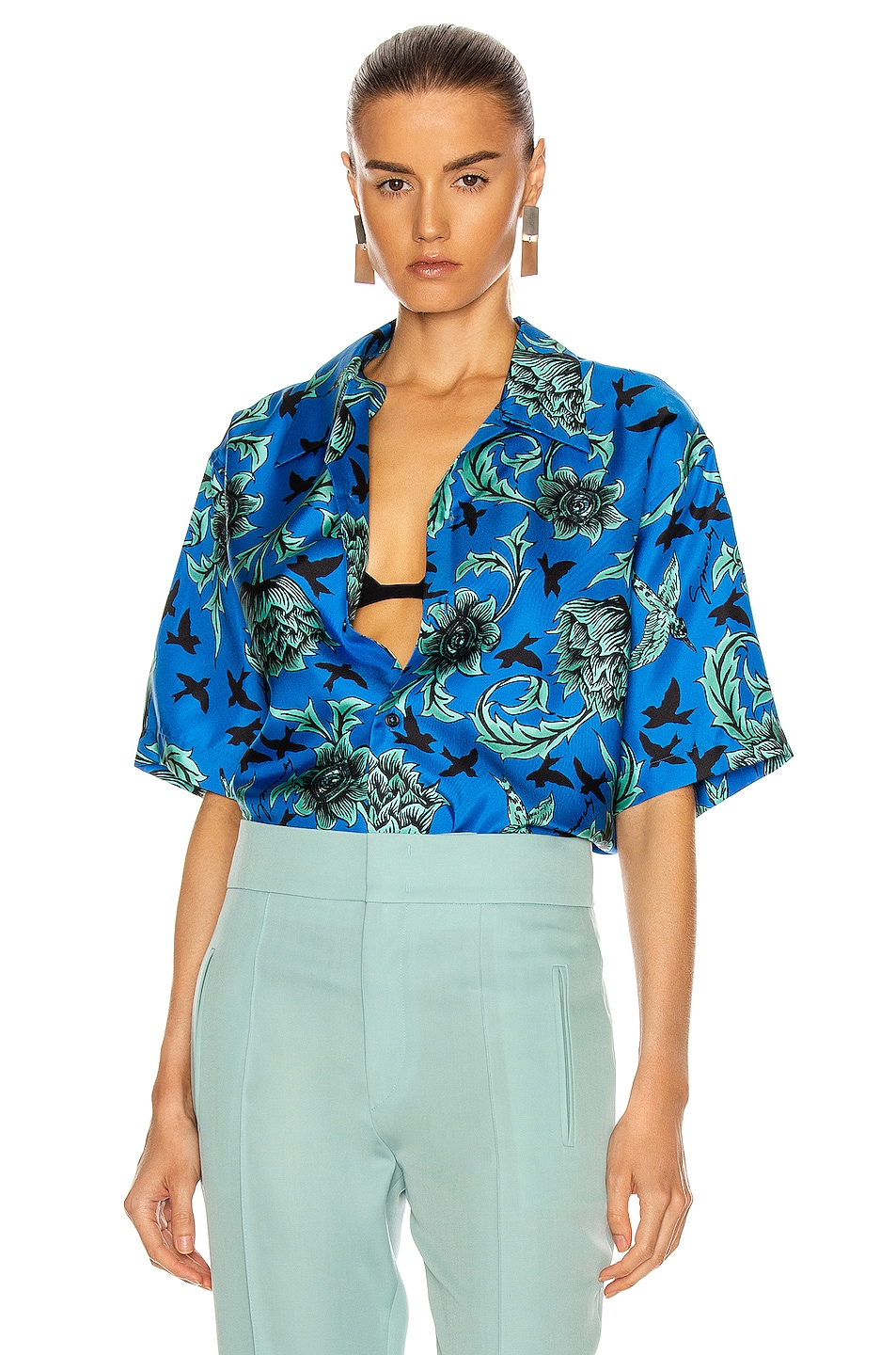 Image 1 of Givenchy Hawaii Shirt in Electric Blue & Mint Green