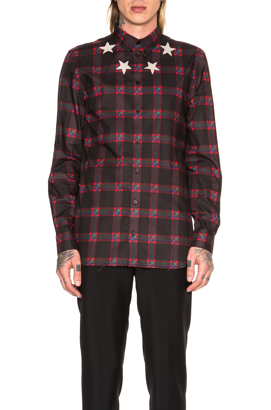 87ed5b27d263 Image 1 of Givenchy Star Bleach Plaid Shirt in Black   Red