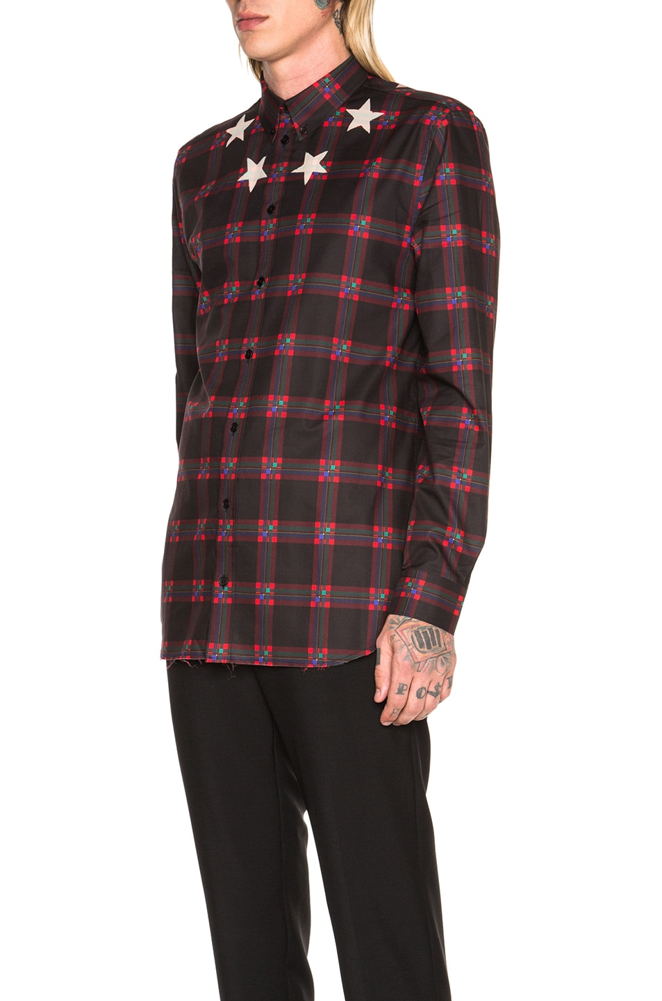 d693ee258b9f Image 2 of Givenchy Star Bleach Plaid Shirt in Black   Red