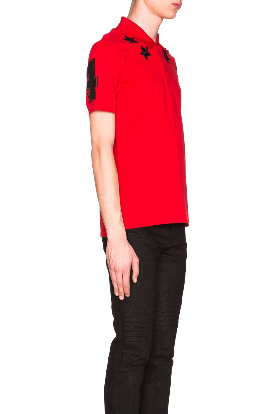 6efa44f2 Image 3 of Givenchy Cuban Fit Star Collar 74 Polo in Red