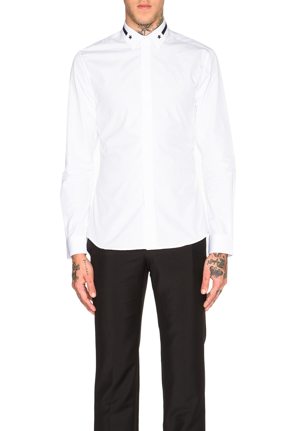 4a52c44034f Image 1 of Givenchy Embroidered Band   Star Collar Shirt in White