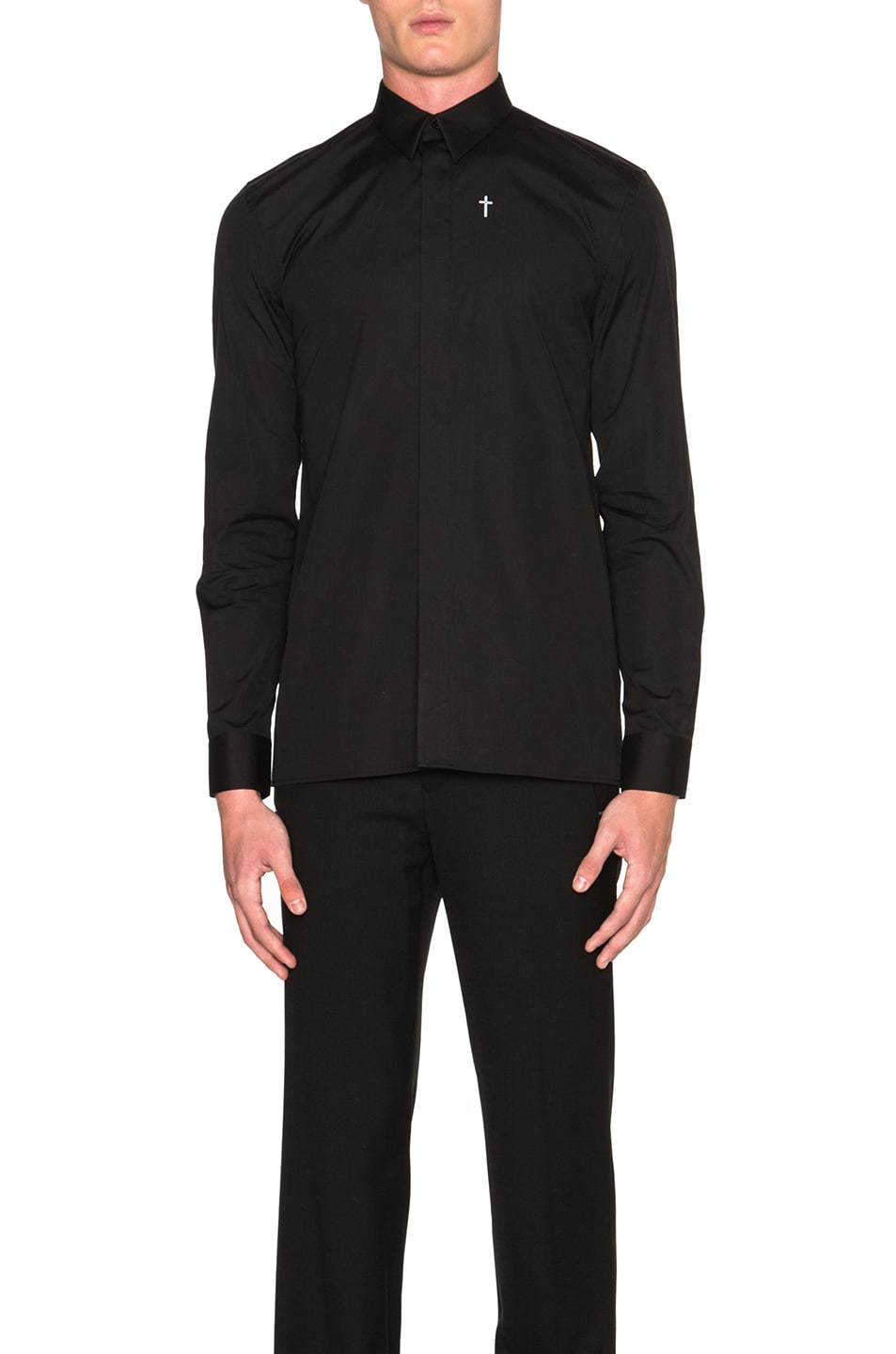 Image 1 of Givenchy Cross Embroidery Button Down Shirt in Black