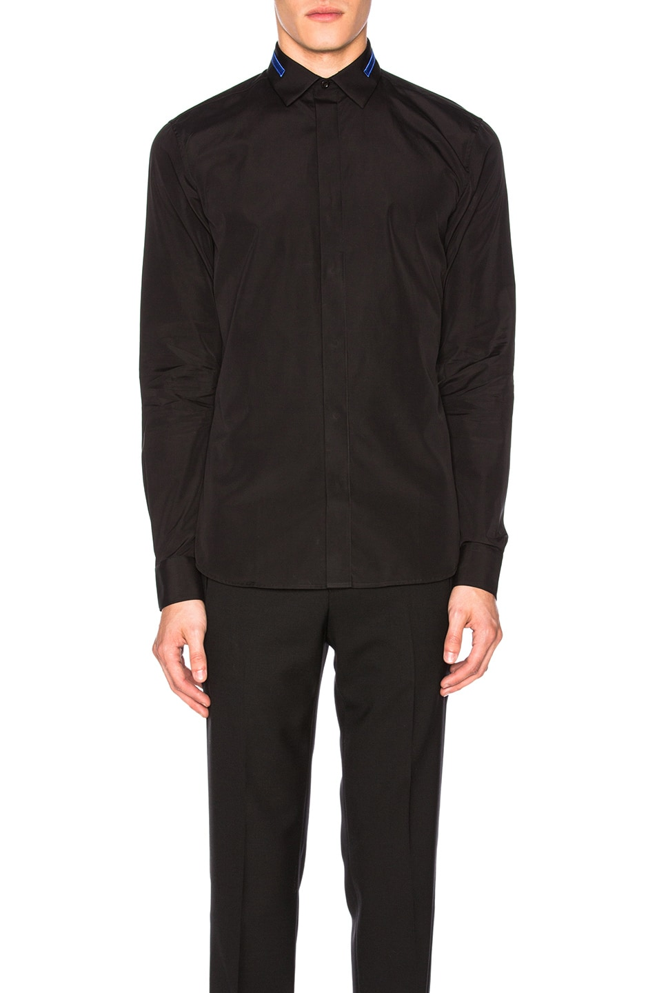 Givenchy Embroidered Collar Shirt In Black Fwrd
