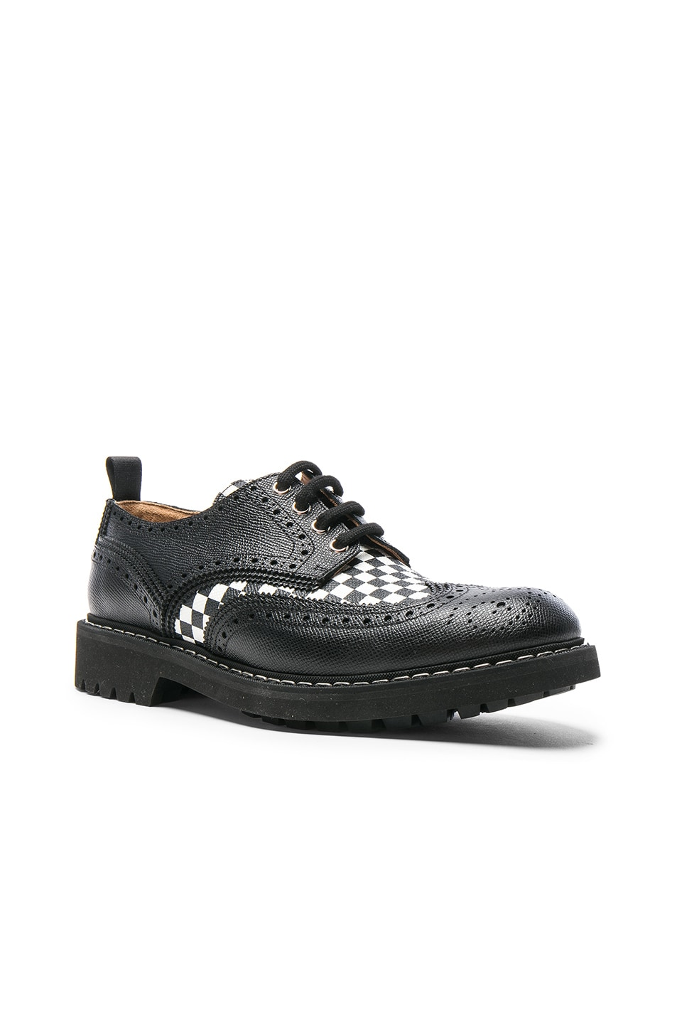 Image 1 of Givenchy Checkerboard Leather Dress Shoes in Black & White
