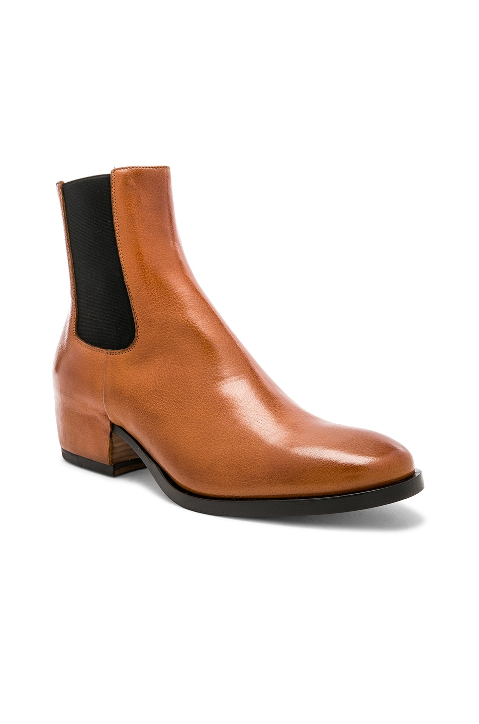 Image 1 of Givenchy Cuban Heel Leather Chelsea Boots in Cognac Brown 427ab1c68427
