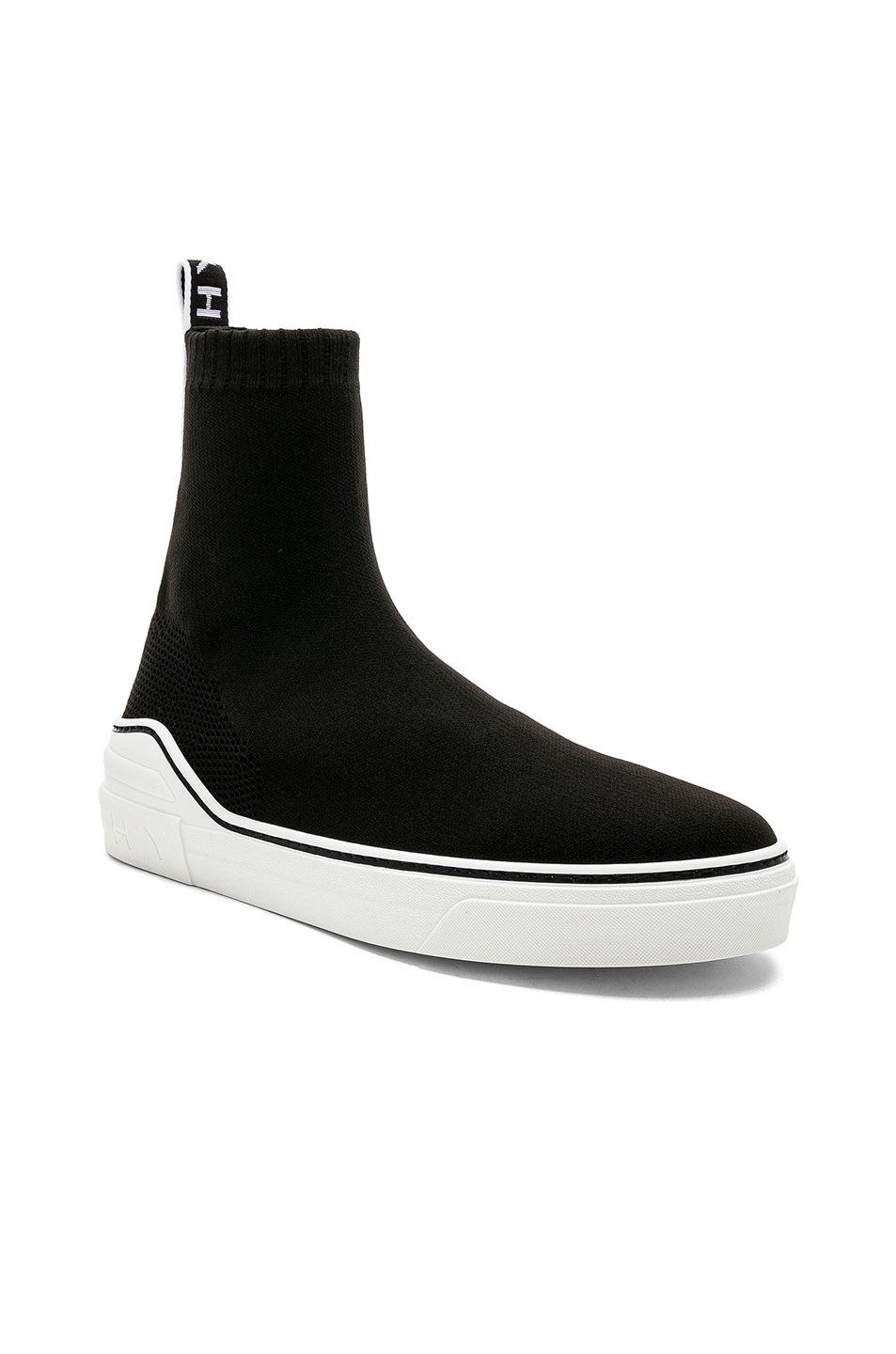Image 1 of Givenchy George V Mid Sock Sneakers in Black & White