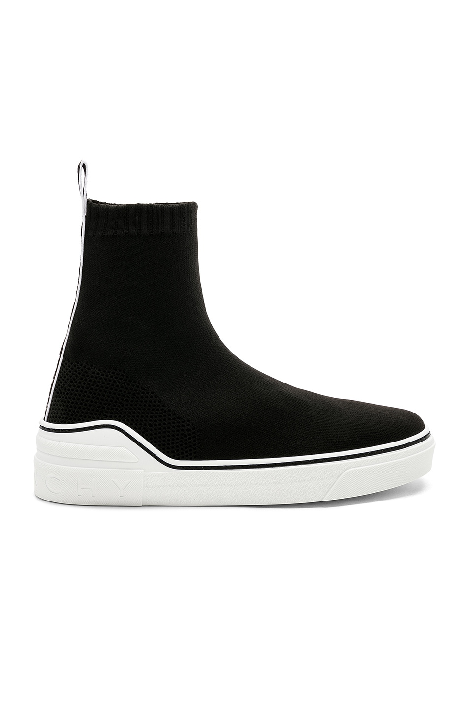 Image 2 of Givenchy George V Mid Sock Sneakers in Black & White