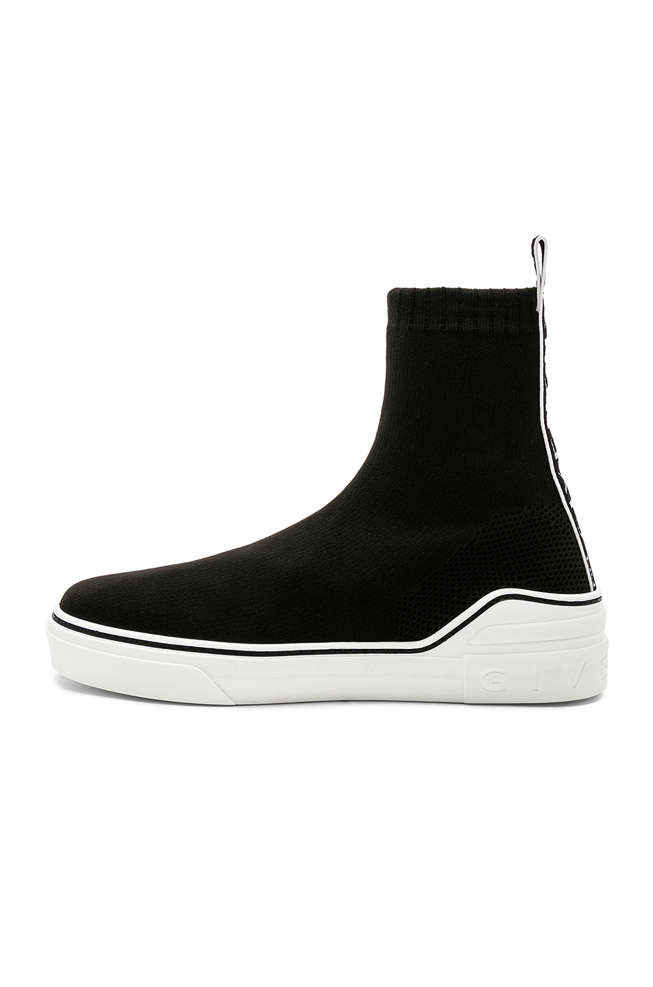 Image 5 of Givenchy George V Mid Sock Sneakers in Black & White