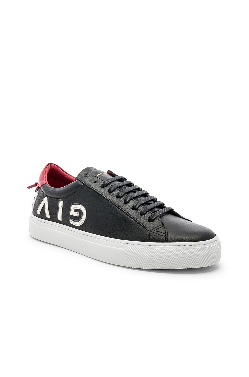 Image 1 of Givenchy Leather Urban Street Low Sneakers in Black & Red