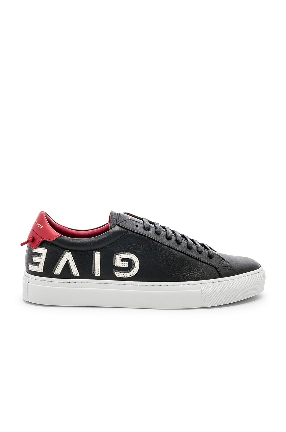 Image 2 of Givenchy Leather Urban Street Low Sneakers in Black & Red