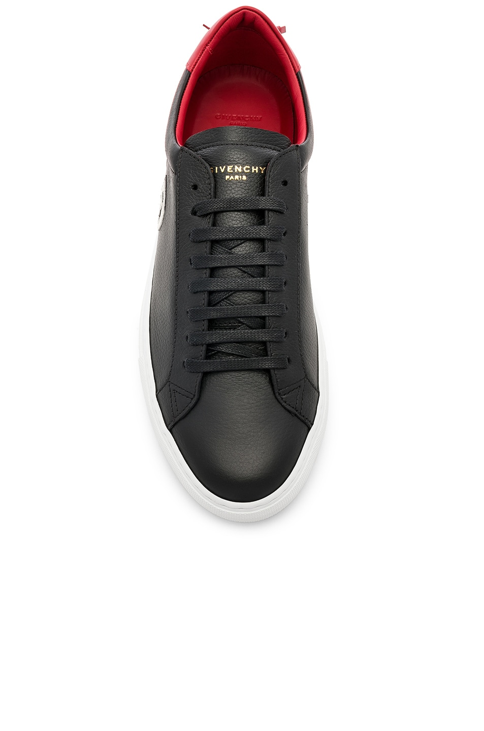 Image 4 of Givenchy Leather Urban Street Low Sneakers in Black & Red