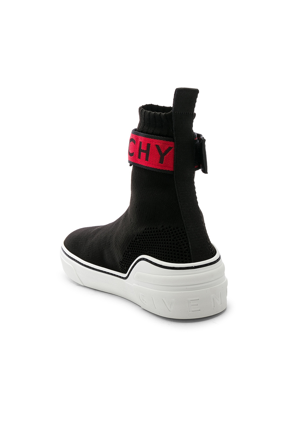 Image 3 of Givenchy George V Sock Sneakers in Black & Red