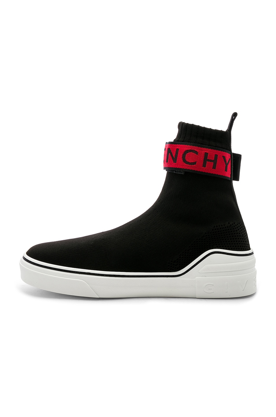 Image 5 of Givenchy George V Sock Sneakers in Black & Red