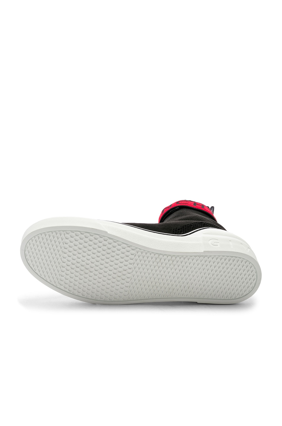 Image 6 of Givenchy George V Sock Sneakers in Black & Red