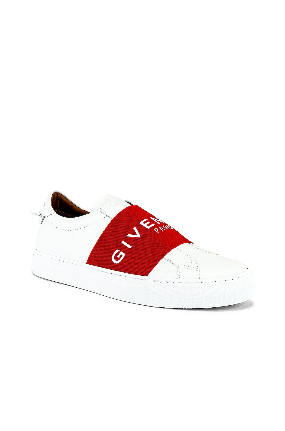 Image 1 of Givenchy Urban Street Elastic Sneakers in White & Red