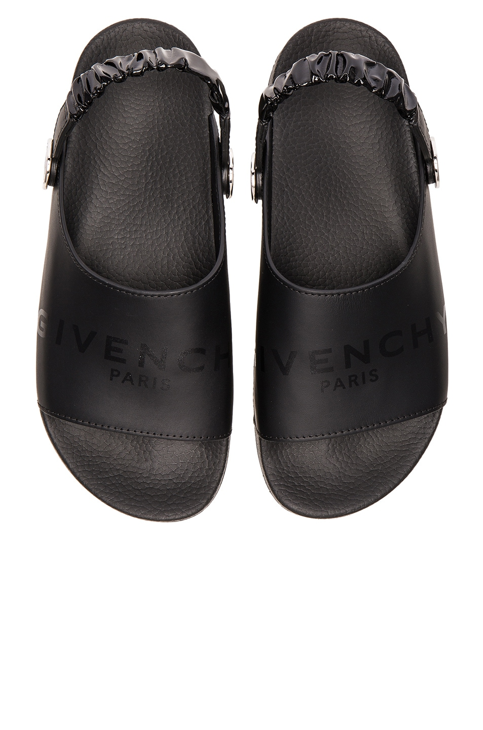 00e2fc6680bc Image 1 of Givenchy Leather Slide Strap Sandals in Black