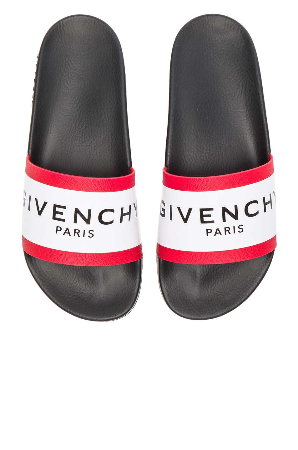 Image 1 of Givenchy Slide Sandals in Black, White & Red