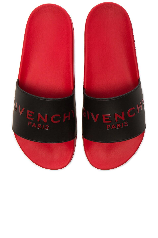 Image 1 of Givenchy Slide Flat Sandals in Black & Red