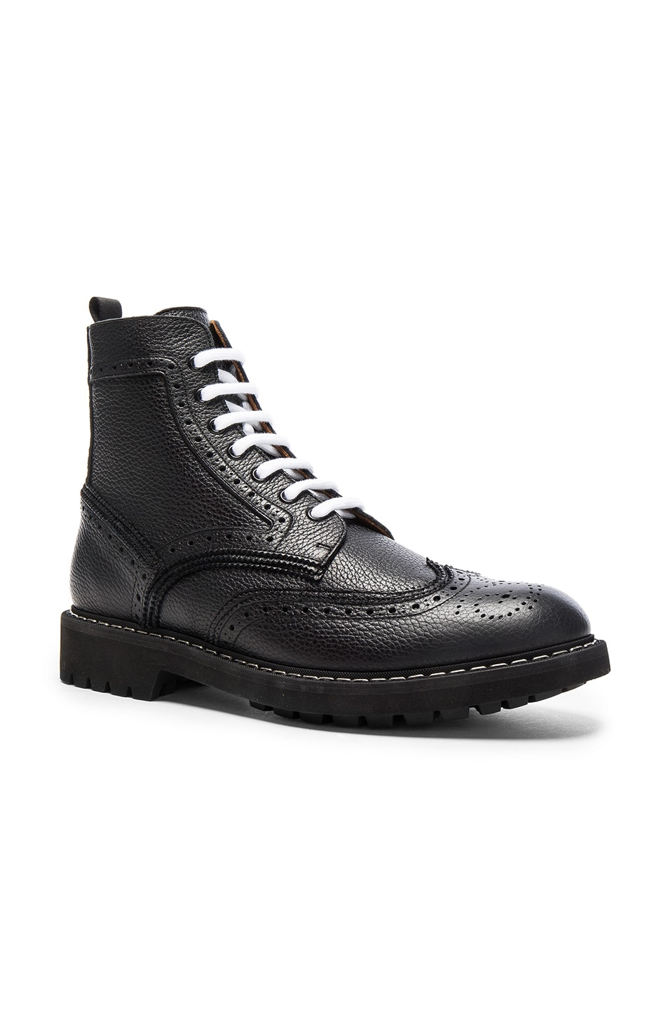 Givenchy Leather Wingtip Boots In Black  10d2a3c3de12