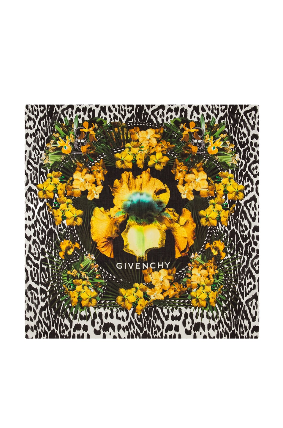 Image 1 of GIVENCHY Iris & Leopard Scarf in Yellow