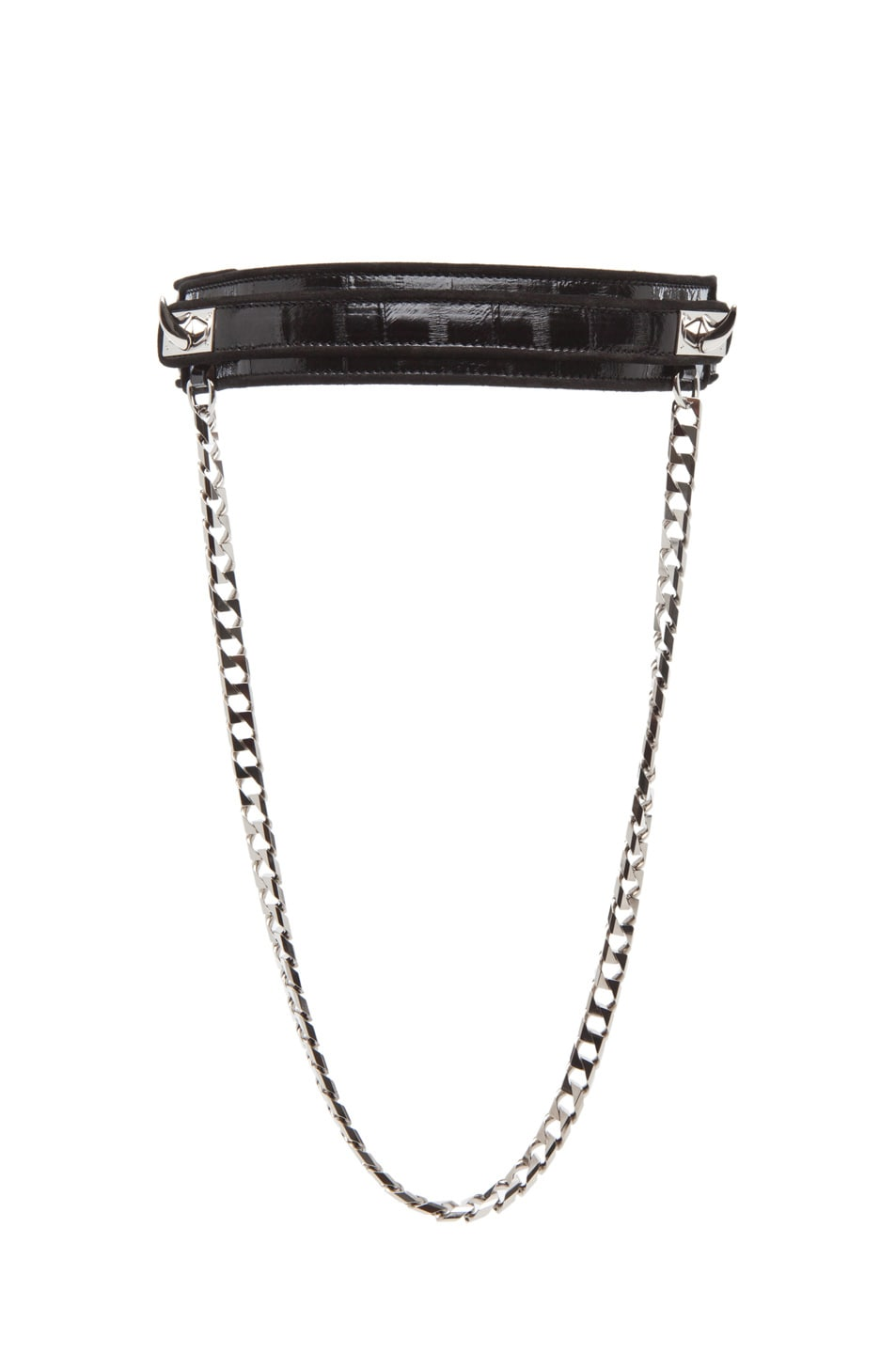 Image 1 of GIVENCHY Large Eel Shark Tooth Chain Belt in Black