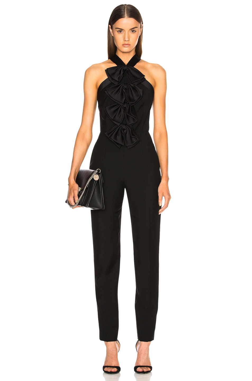 Image 1 of Givenchy Bow Front Cross Back Jumpsuit in Black