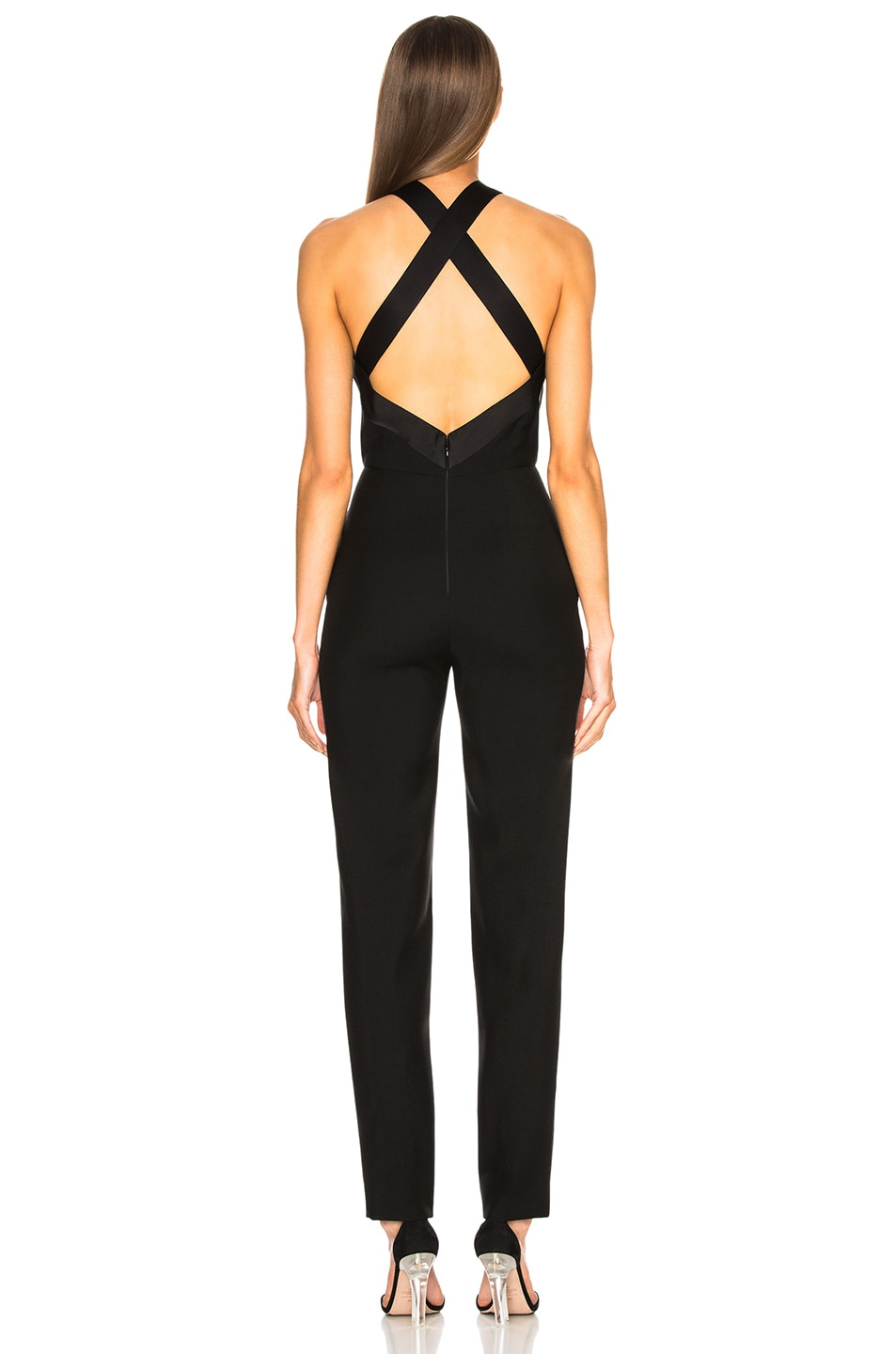 Image 3 of Givenchy Bow Front Cross Back Jumpsuit in Black