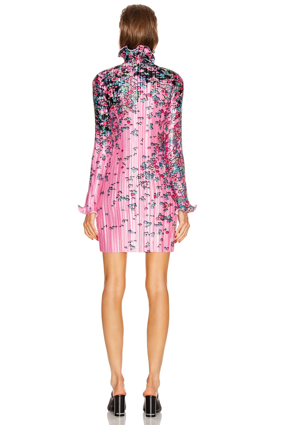 Image 3 of Givenchy Short Pleated Wave Details Dress in Pink & Black