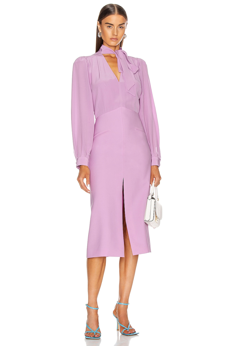 Image 1 of Givenchy Midi V Neck Dress in Purple