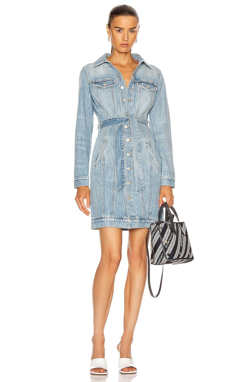 Image 1 of Givenchy Belted Denim Mini Dart Dress in Blue