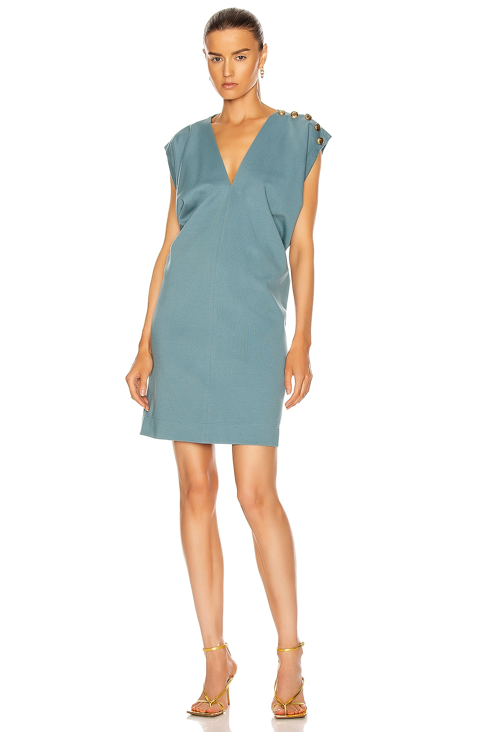 Image 1 of Givenchy Gold Button Sleeveless Draped Dress in Blue