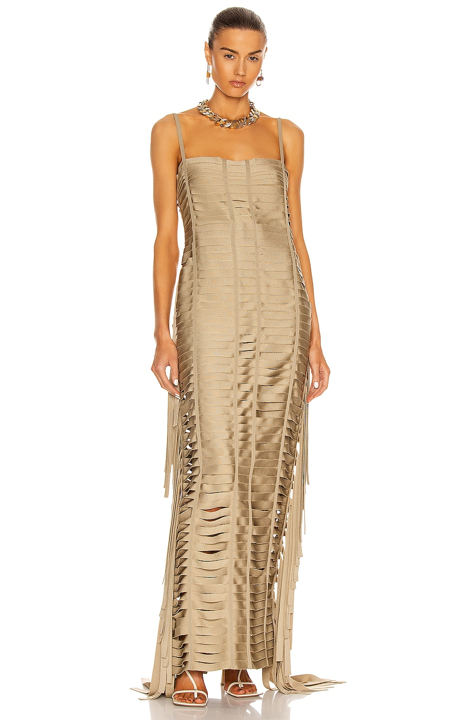 Image 1 of Givenchy Ribbon Effect Long Dress in Beige
