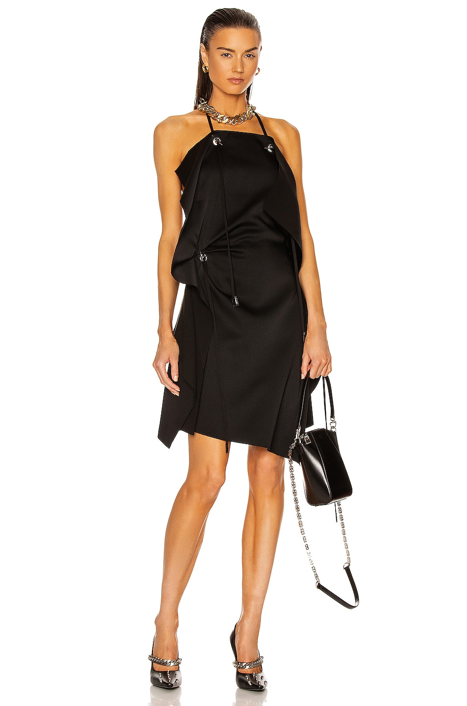 Image 1 of Givenchy Asymmetrical Short Draped Dress in Black