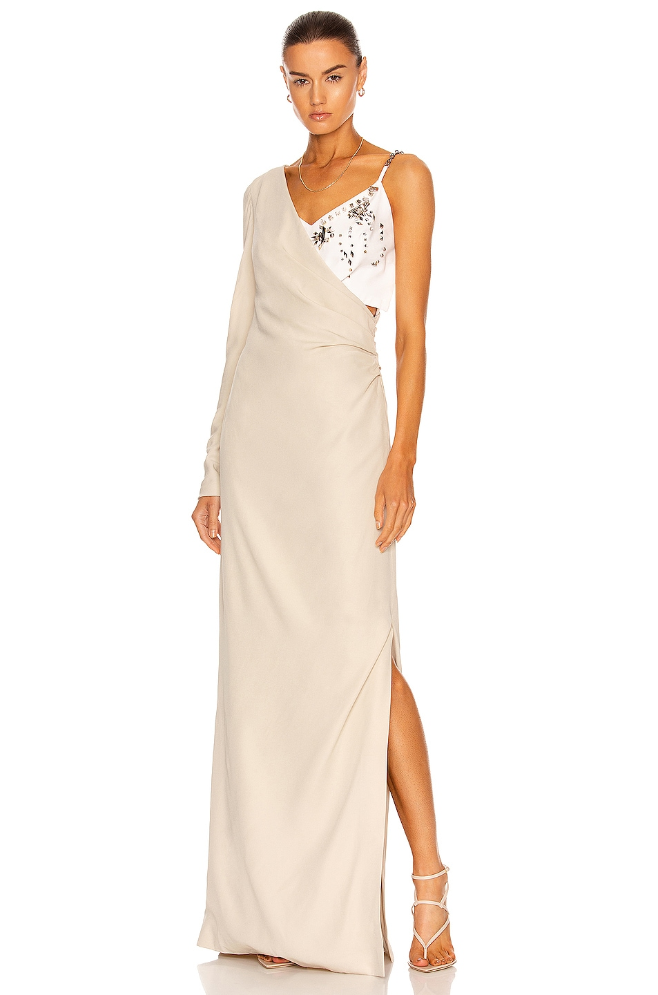 Image 1 of Givenchy One Sleeve Evening Dress in Dust Grey