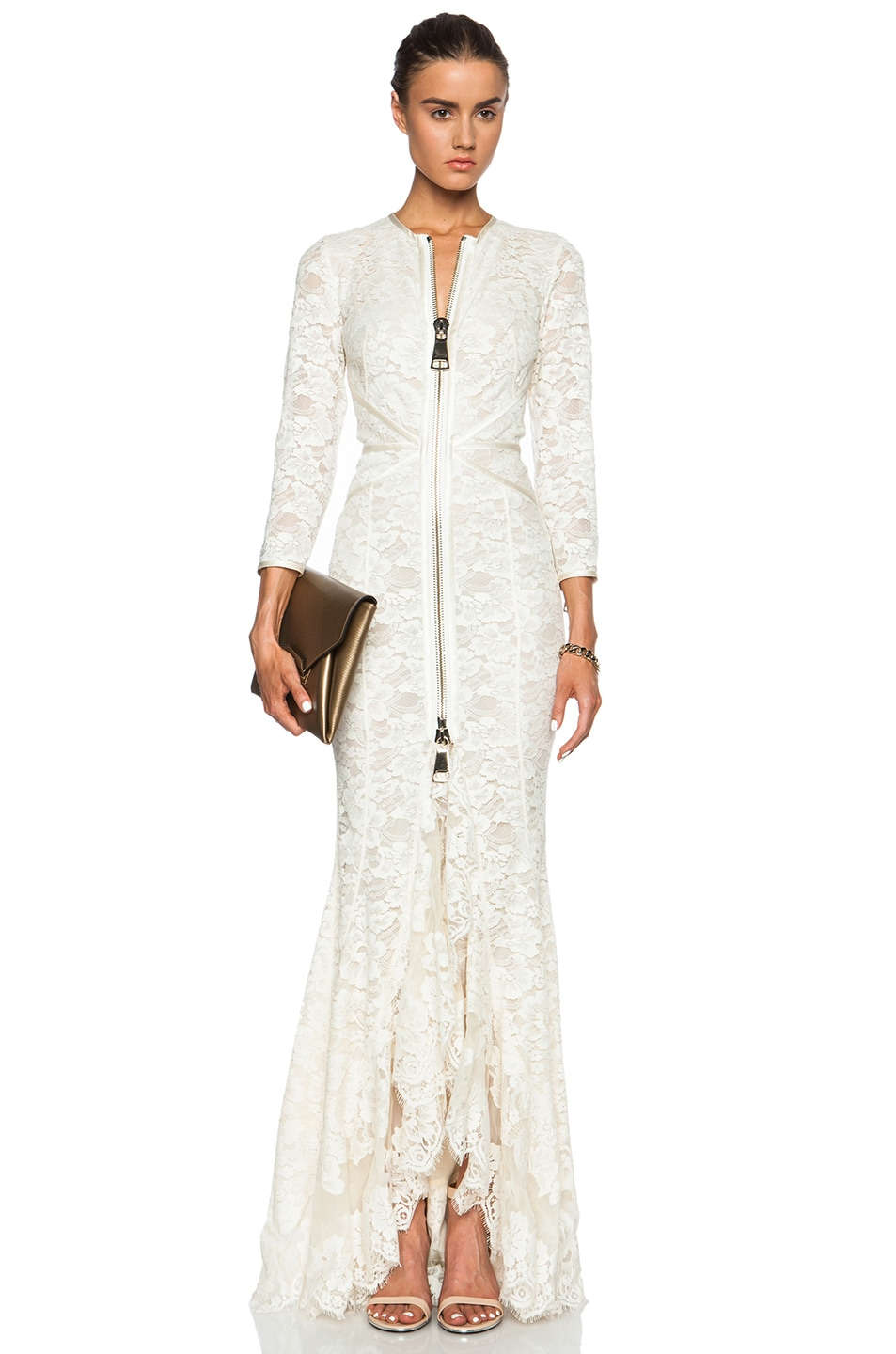 Givenchy Zip Front Lace Gown in Cream | FWRD
