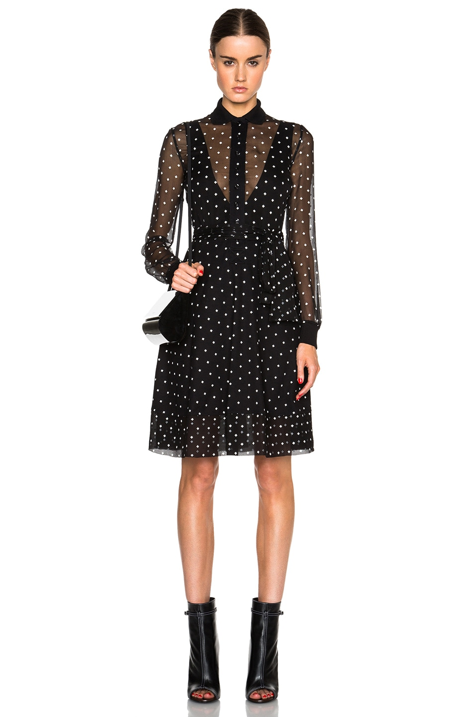 Image 1 of GIVENCHY Crosses Print Crepon & Pique Dress in Black