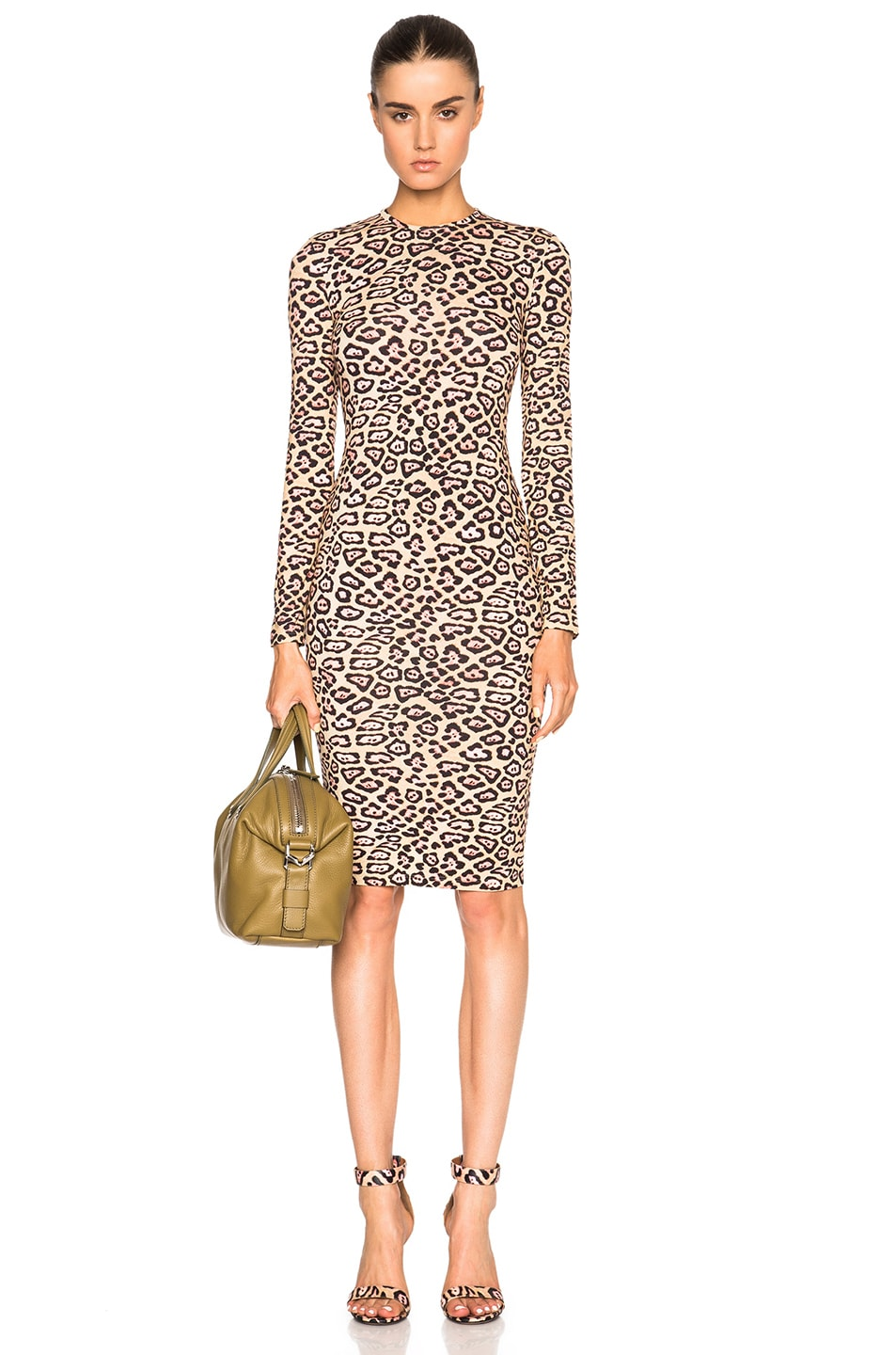 0c13dd48ca Image 1 of Givenchy Long Sleeve Leopard Print Jersey Dress in Multi