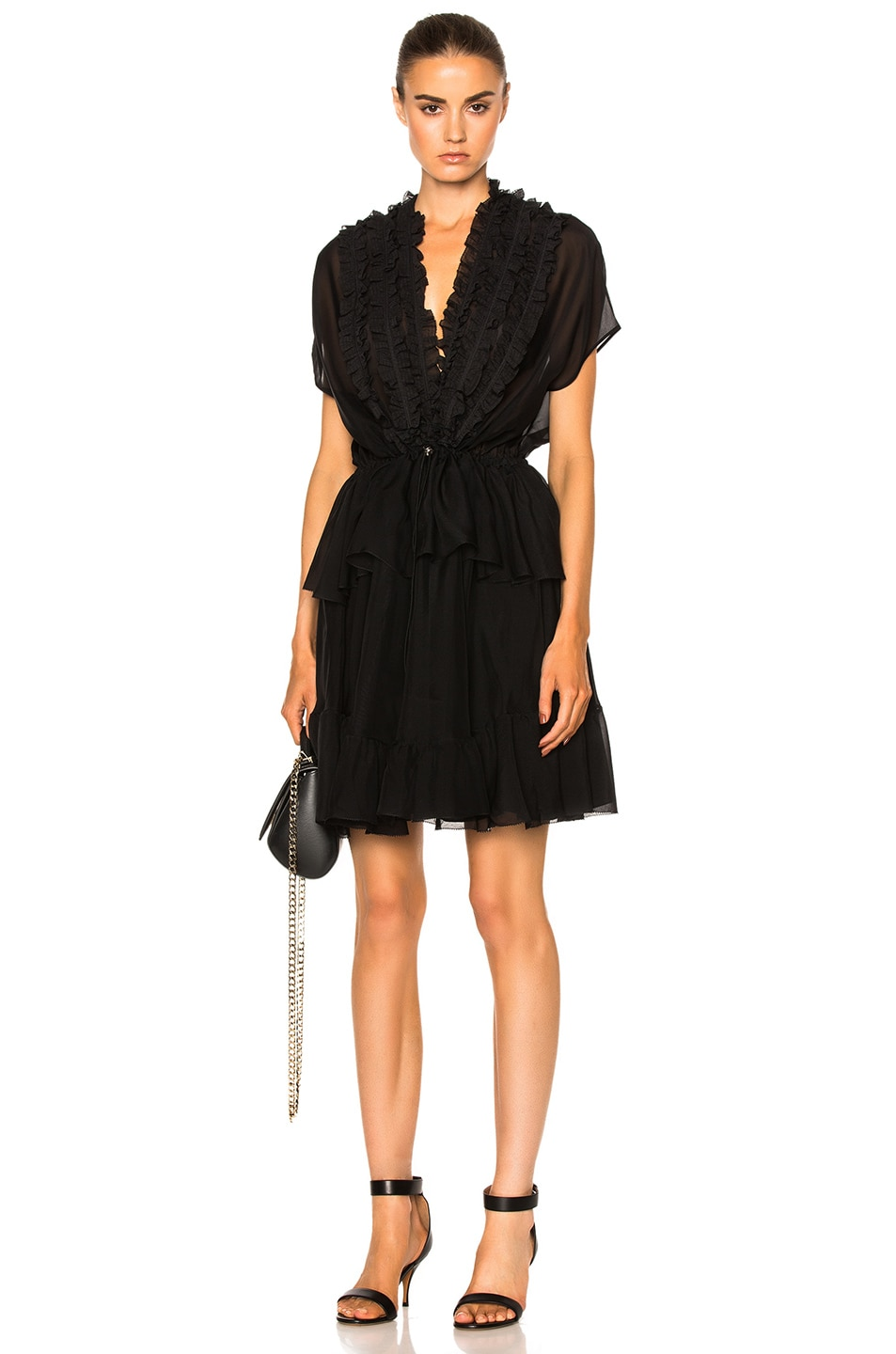 Image 1 of Givenchy Ruffled Silk Dress in Black