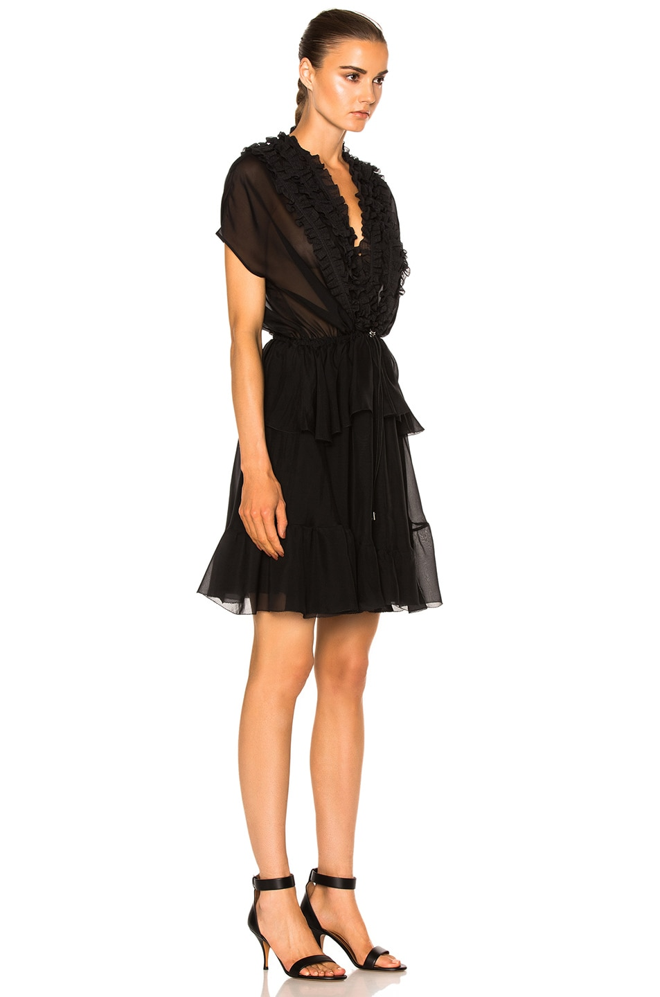 Image 3 of Givenchy Ruffled Silk Dress in Black