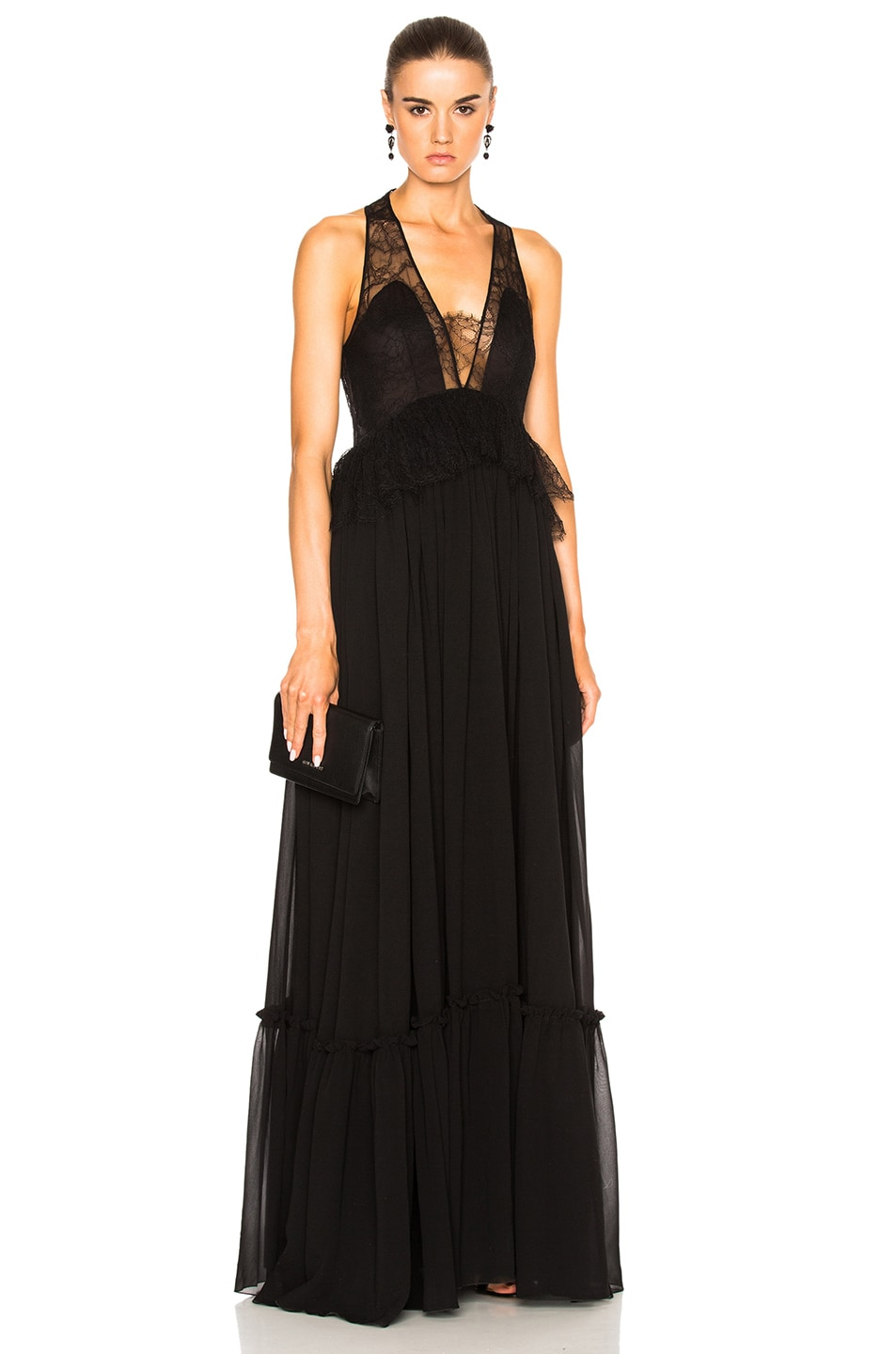 Image 1 of Givenchy Pleated Silk Gown in Black