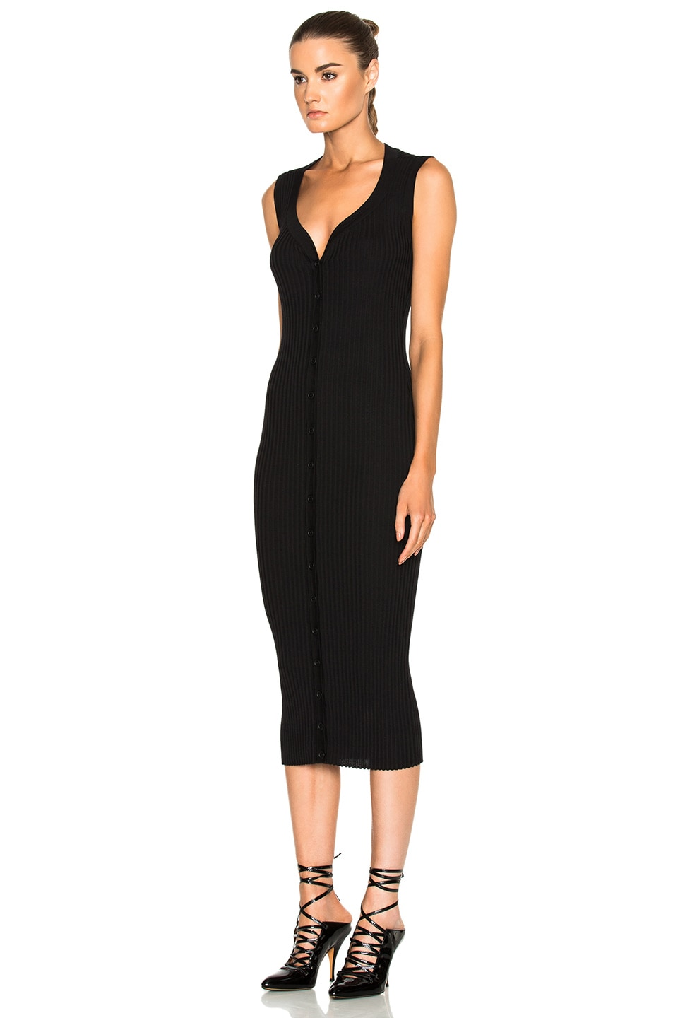 Image 2 of Givenchy Button Front Ribbed Knit Dress in Black