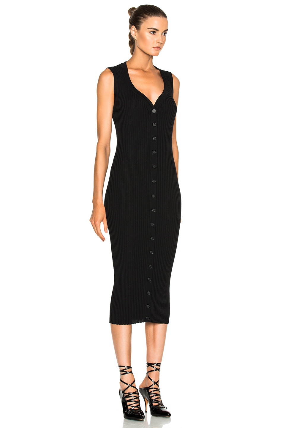 Image 3 of Givenchy Button Front Ribbed Knit Dress in Black