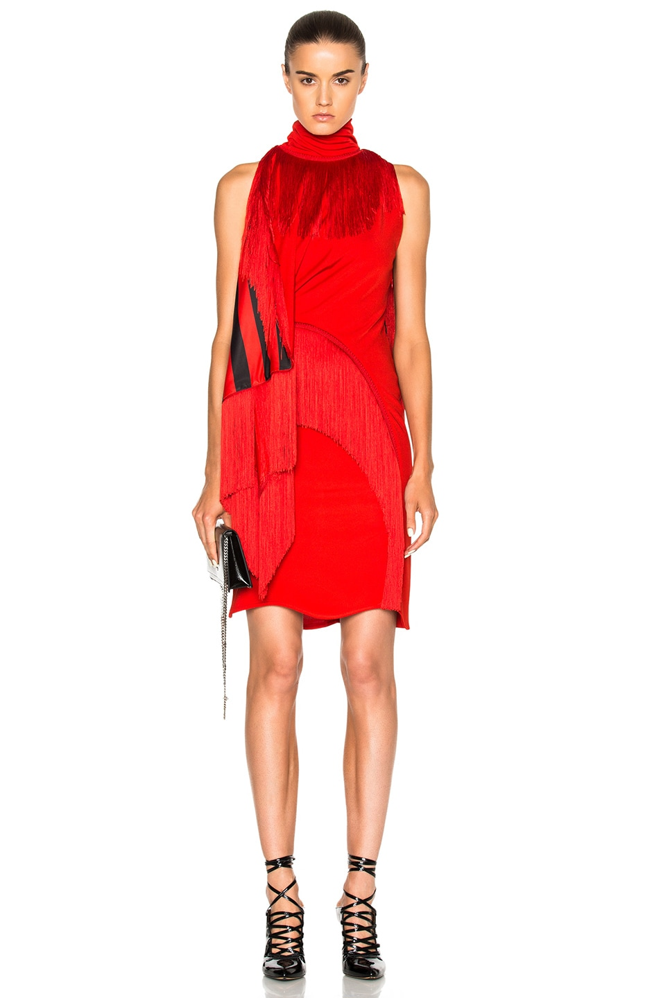 givenchy fringe detail mini dress in red fwrd