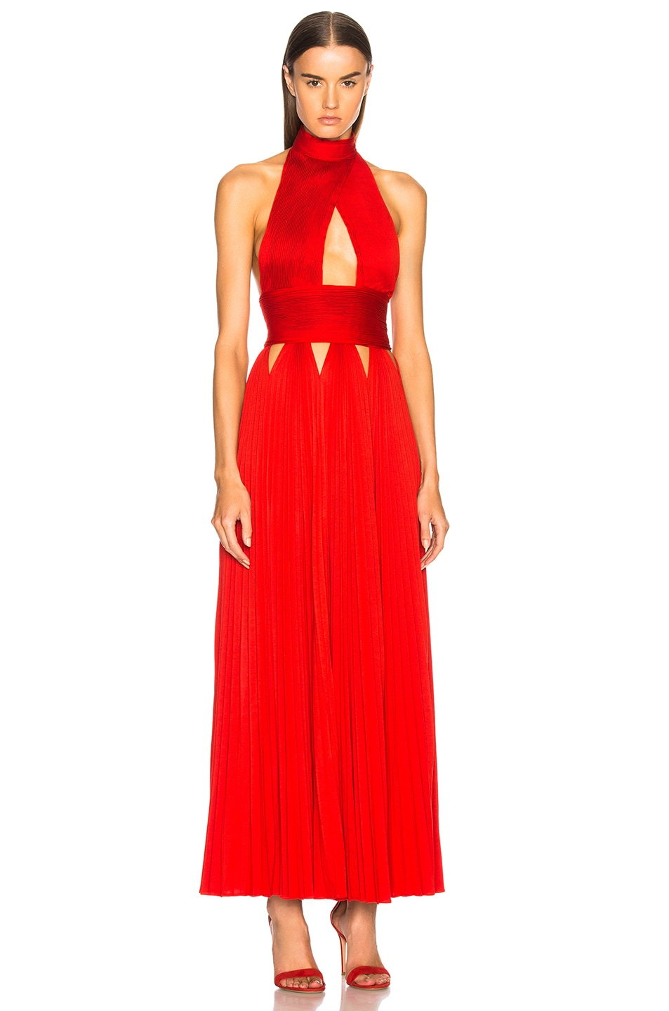 Givenchy Cutout Pleated Gown in Bright Red | FWRD