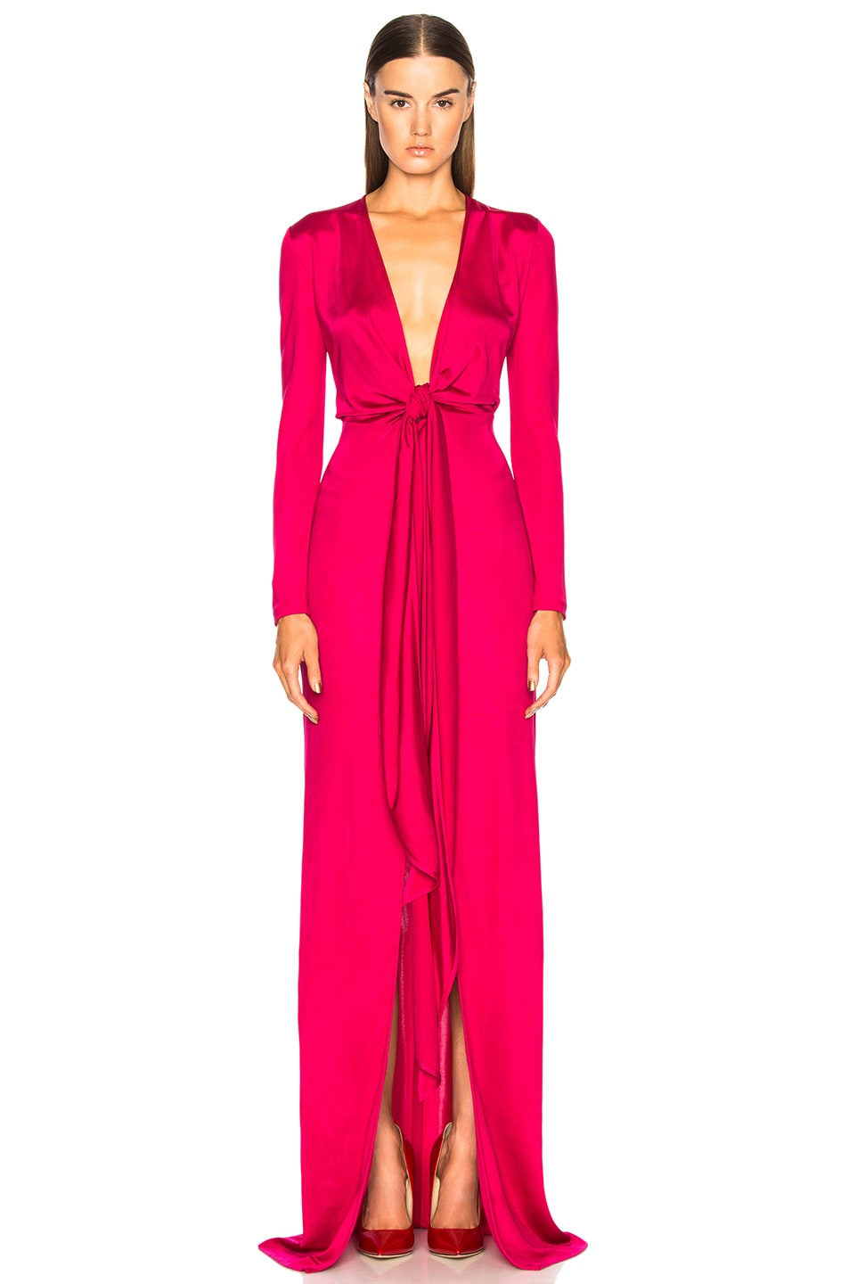 Givenchy Shiny Viscose Jersey Tie Knot Gown in Black
