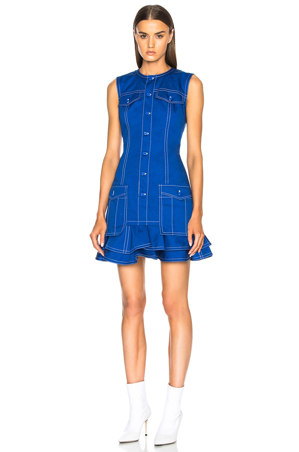 Image 1 of Givenchy Light Military Cotton Mini Dress in Blue