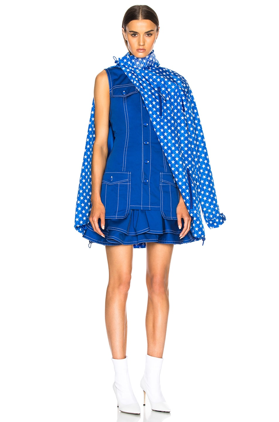 Image 2 of Givenchy Light Military Cotton Mini Dress in Blue