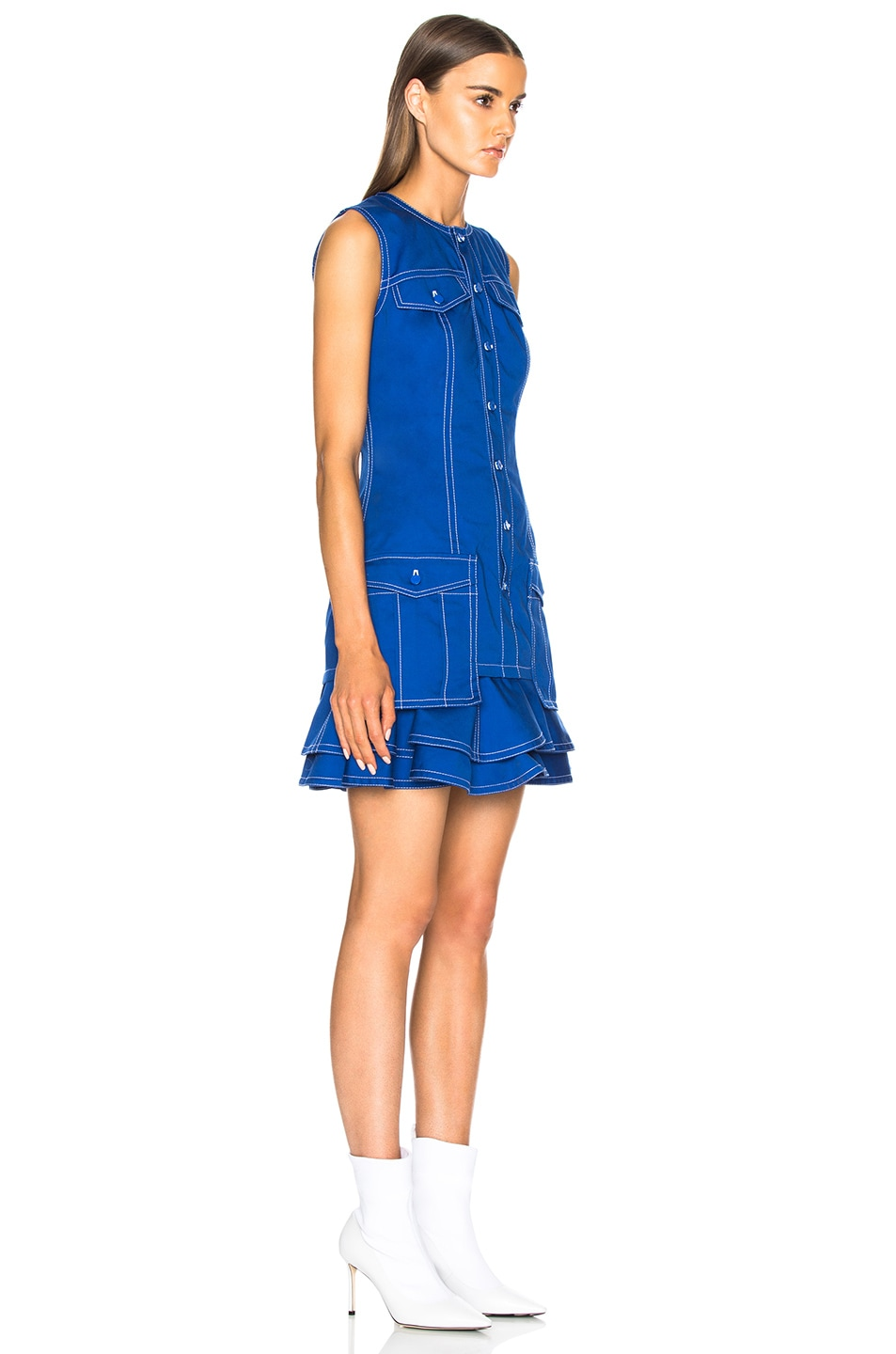 Image 3 of Givenchy Light Military Cotton Mini Dress in Blue
